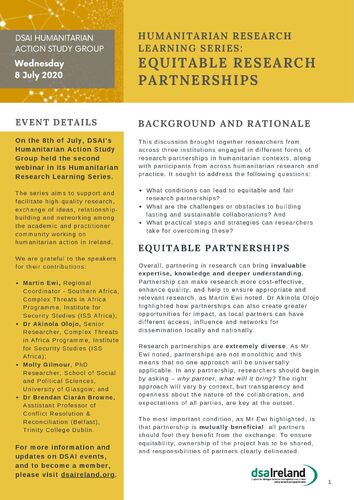 DSAI Humanitarian Research Learning - Equitable Research Partnerships_Summary Doc final
